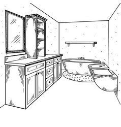 bathroom engraving vector image