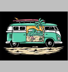Beach in my car vector