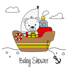 bear on a boat vector image