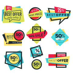 best offer sale and discount isolated icons 50 off vector image