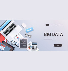 big data concept workplace desk with office stuff vector image