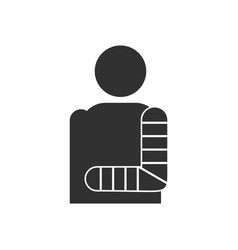 Black icon on white background man with broken arm vector