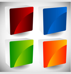 blank glossy square buttons with rounded corners vector image