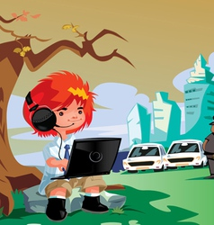 Boy with tech vector image