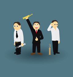 businessman contest successful winner with trophy vector image