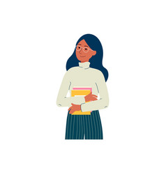 cartoon college student girl with glasses holding vector image