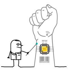 Cartoon doctor showing a microchip implant in vector