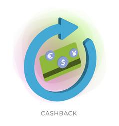 Cashback reward program and money refund vector