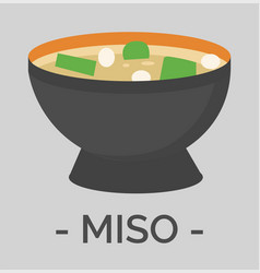 Ceramic bowl with miso soup tasty asian cuisine vector