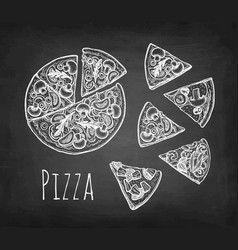 chalk sketch pizza vector image