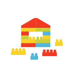 Children constructor little house made of vector