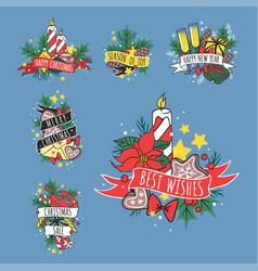 Christmas hand drawn tape badges style holiday vector