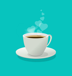 coffee cup with love hearts as a smoke or steam vector image