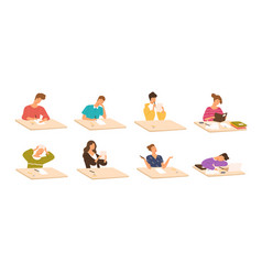 Collection of young boys and girls sitting at vector