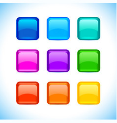 colored matted blank rounded squares buttons with vector image