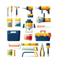 construction electric hand tools flat set vector image