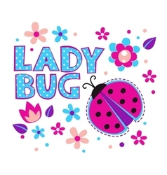 Cute girlish with ladybug vector
