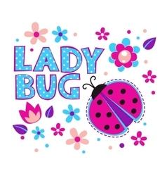 Cute girlish with ladybug vector image