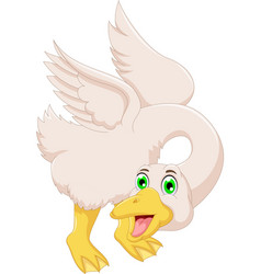 Cute goose cartoon posing vector
