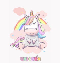 cute unicorn with on a rainbow vector image