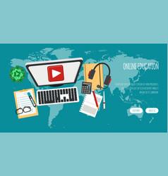 distance education banner online courses e vector image