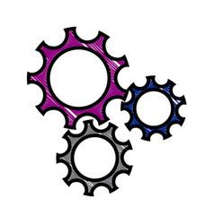 drawing gear teamwork wheel mechanism power vector image