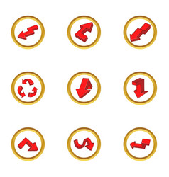 Driving direction icons set cartoon style vector