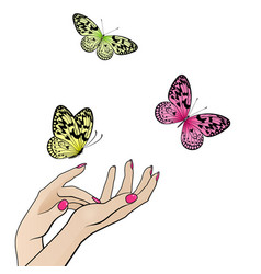 Female hands with flying colorful butterflies vector