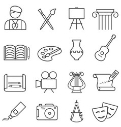 fine arts painting music line icons vector image