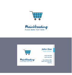 Flat cart logo and visiting card template vector