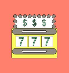 flat icon design collection jackpot machine casino vector image