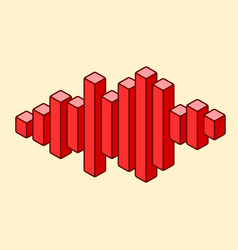 Flat isometric music wave icon made peak lines vector