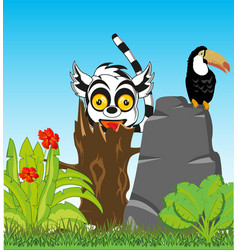 Flowering jungle with animal and bird vector