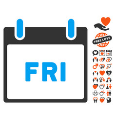 Friday calendar page icon with dating bonus vector