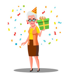 Funny old woman celebrate birthday in party caps vector