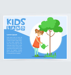 Girl watering a tree with a watering can eco vector