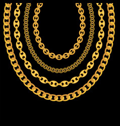 Gold chain jewelry on black background vector