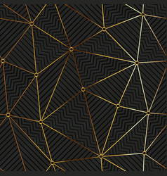 Gold triangle grid seamless pattern vector
