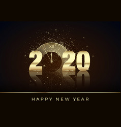 golden clock instead zero in 2020 happy new vector image