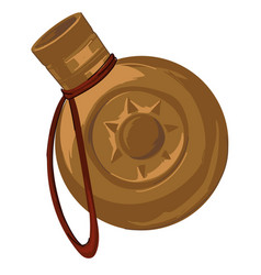 Golden flask for water with thread and ornaments vector