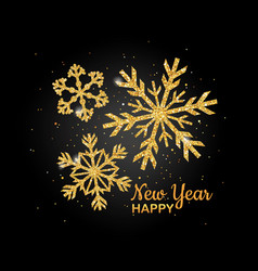 Golden glitter snowflake happy new year nvitation vector