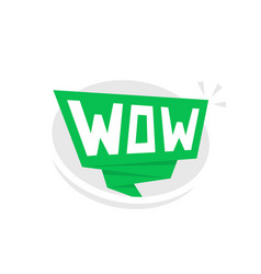 green speech bubble with wow vector image