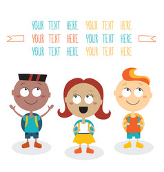 Group of happy children smiling on white vector
