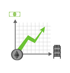 growth etherium graph growth of cryptocurrency vector image