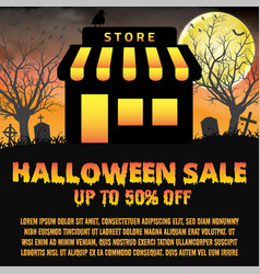 halloween store shop open in night graveyard vector image