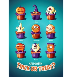 Halloween vintage poster Trick or treat Cakes with vector image