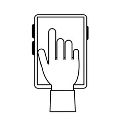 Hand and cellphone design vector