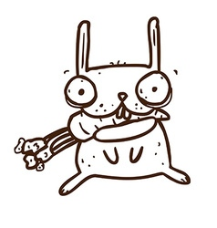 Hand Drawn Crazy Rabbit with Carrot vector image