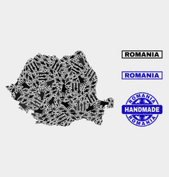 Handmade collage romania map and grunge seal vector