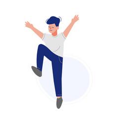 Happy boy happily jumping smiling teen schoolboy vector